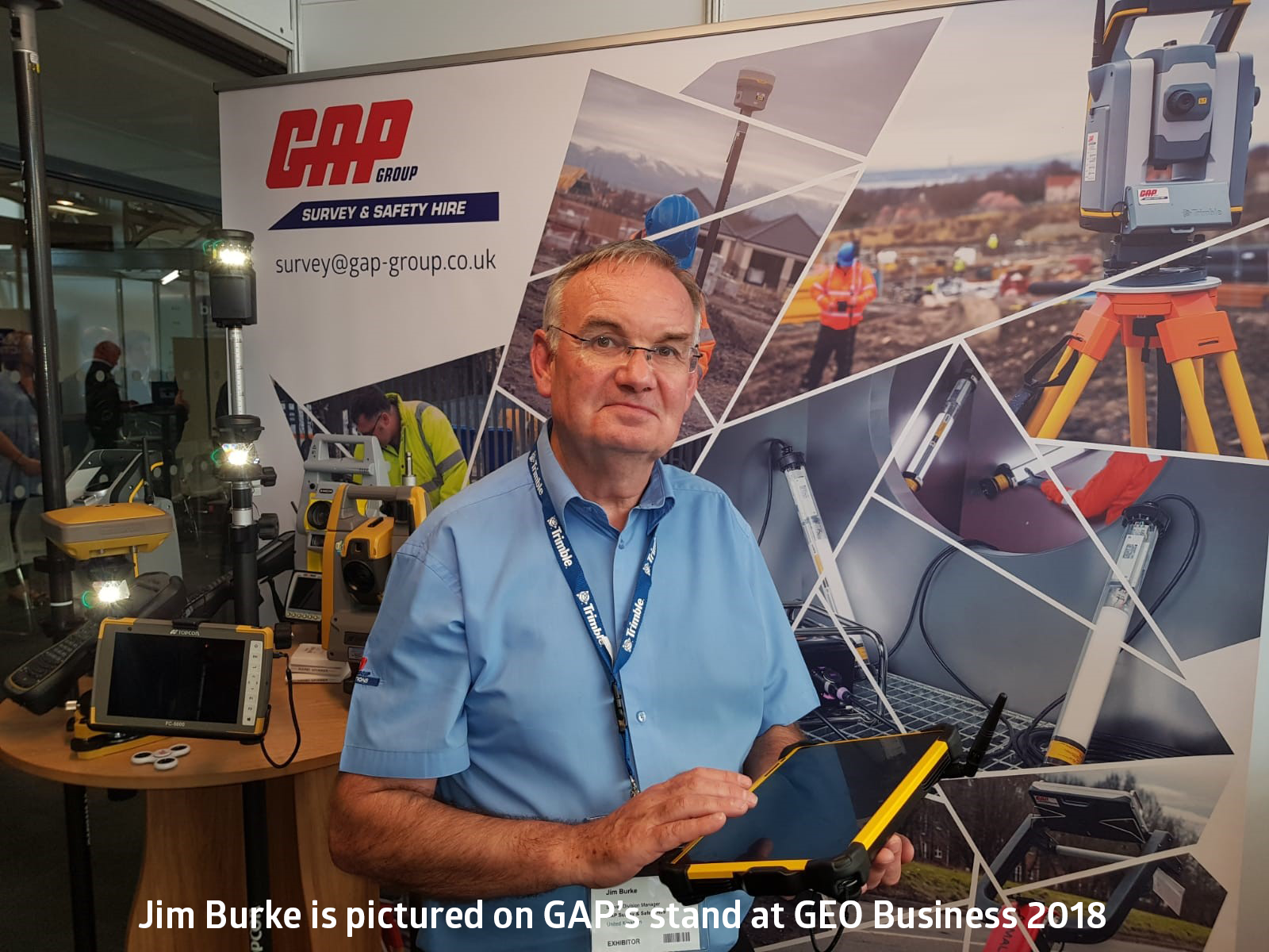 Jim Burke is pictured on GAP's stand at GEO Business 2018 (caption)