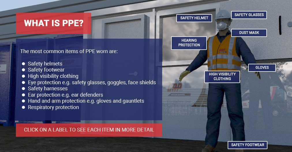 A screenshot from the GAP's PPE Interactive Toolbox Talks module