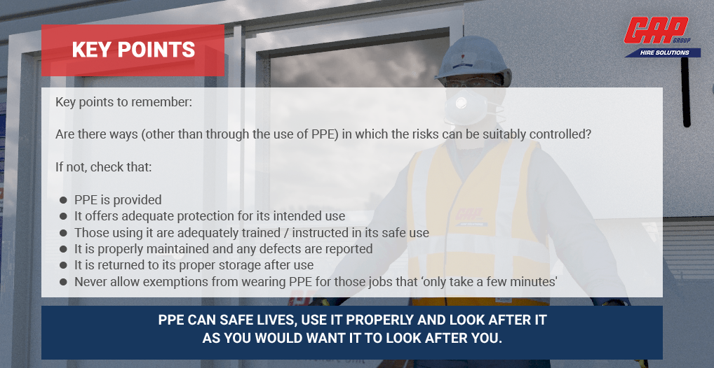 A screenshot from the PPE Interactive Toolbox Talk module