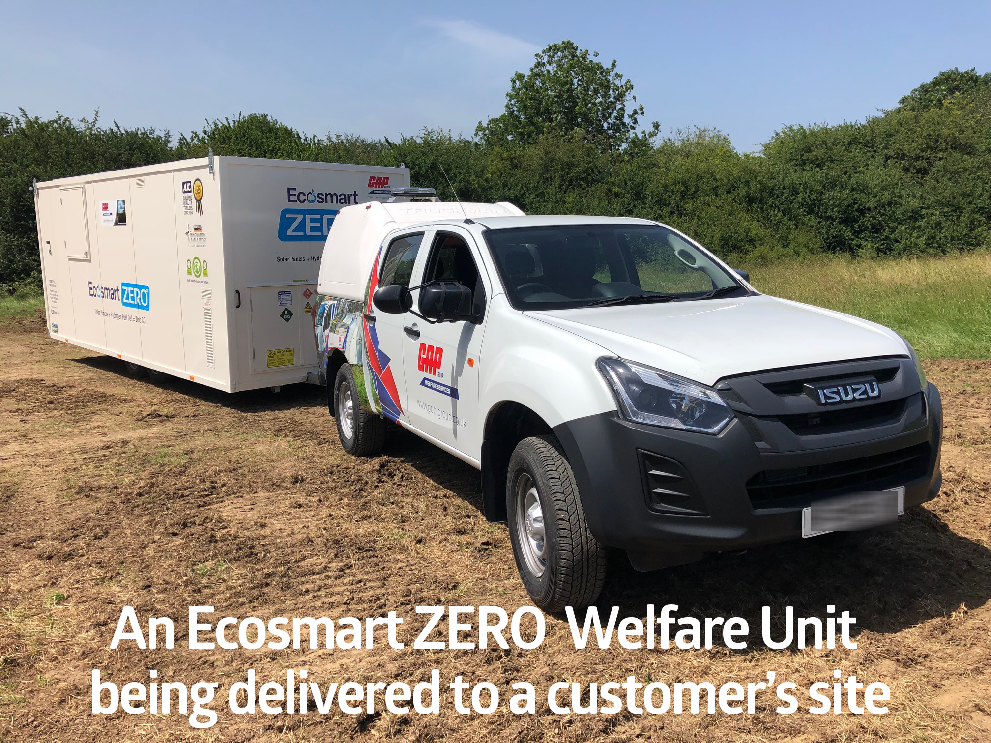 Ecosmart Welfare Unit being delivered to a customer's site