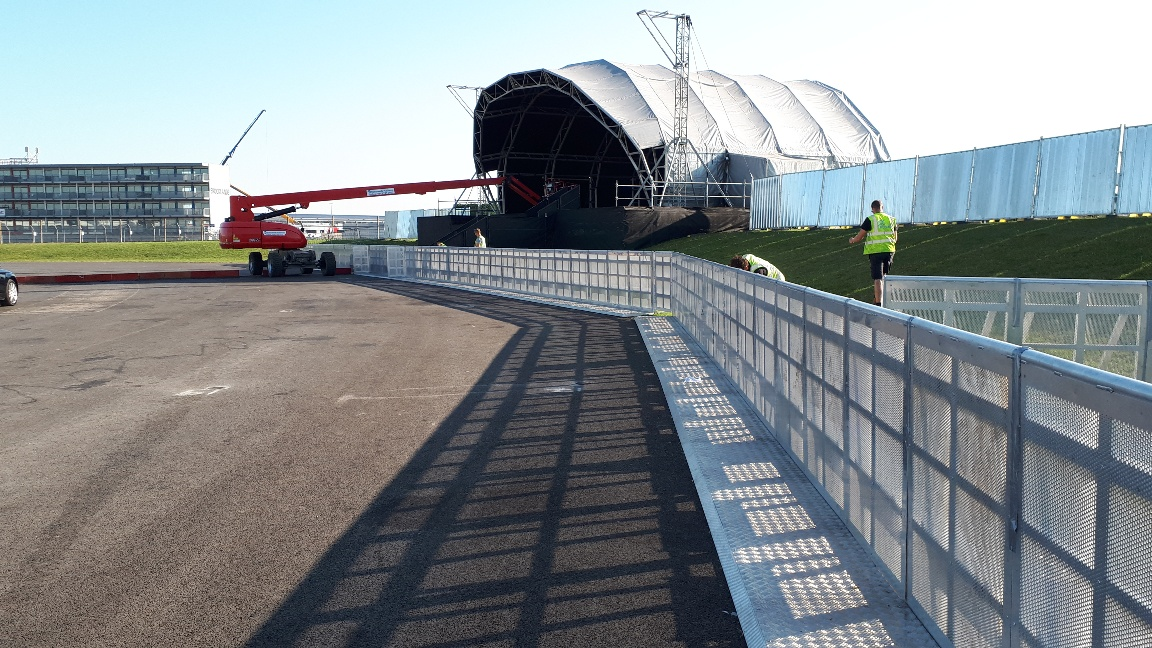 GAP's front of stage barriers at Silverstone